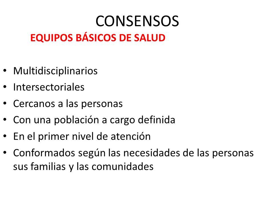 CONSENSOS EQUIPOS BÁSICOS DE SALUD Multidisciplinarios
