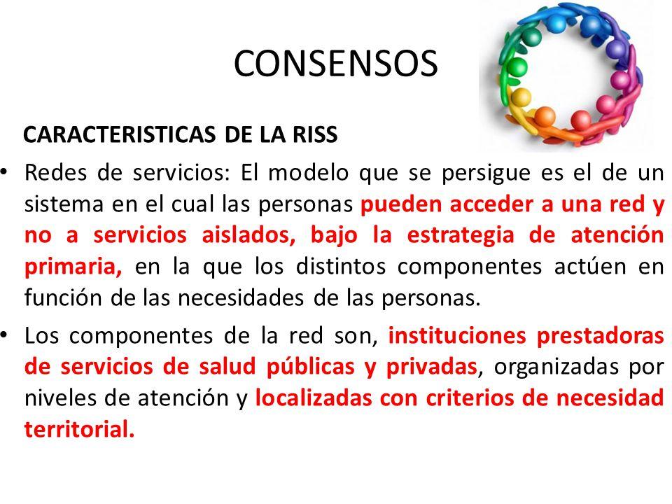 CONSENSOS CARACTERISTICAS DE LA RISS