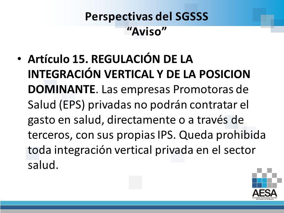 Perspectivas del SGSSS Aviso