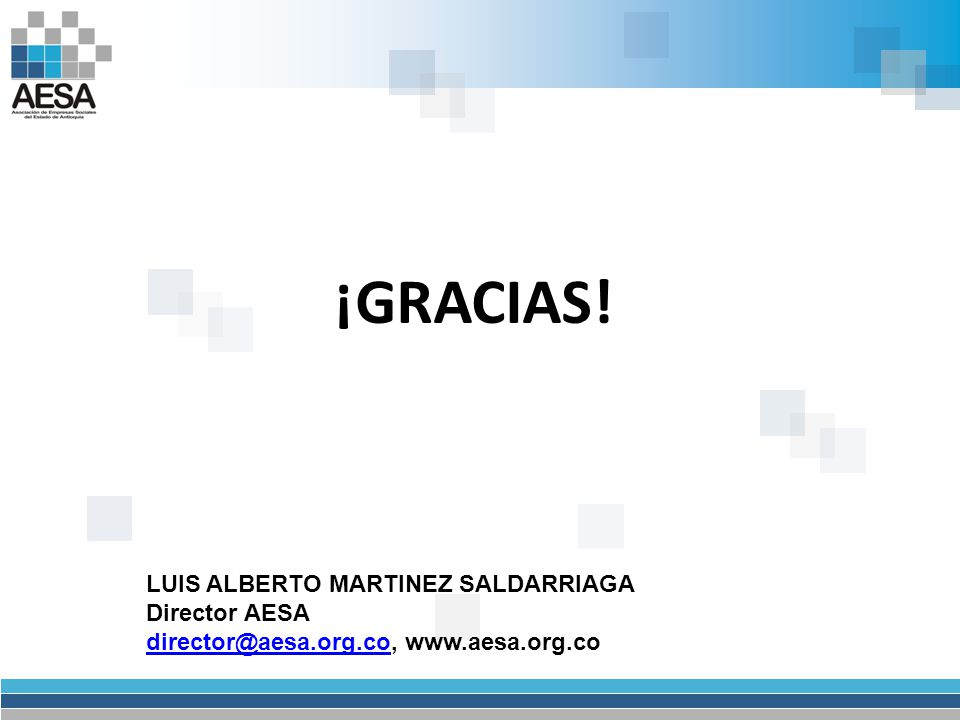 ¡GRACIAS! LUIS ALBERTO MARTINEZ SALDARRIAGA Director AESA