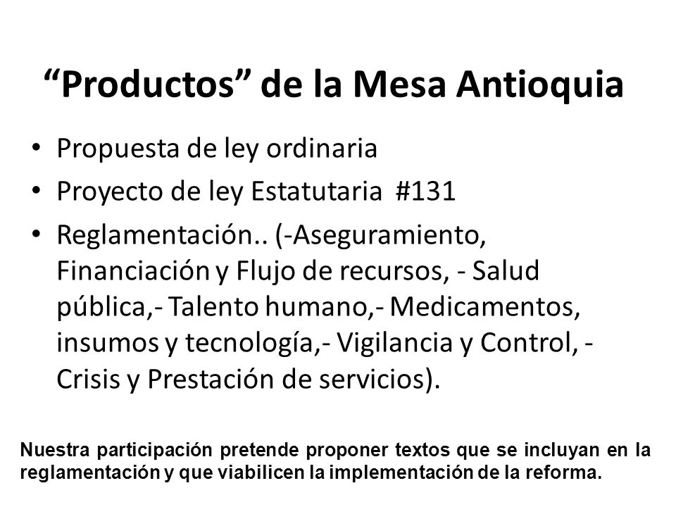 Productos de la Mesa Antioquia