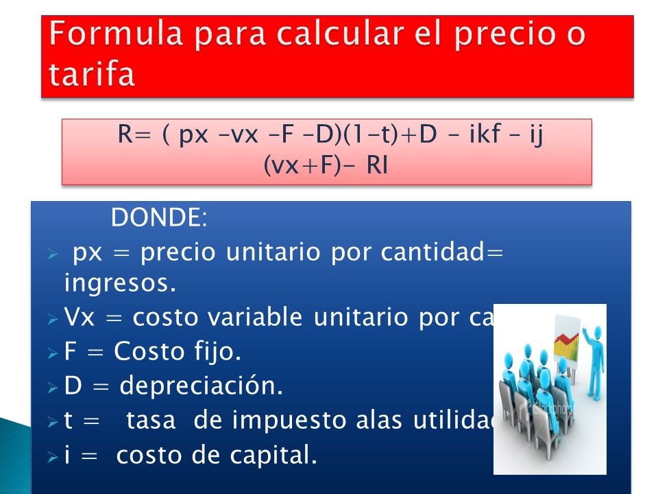 Formula para calcular el precio o tarifa