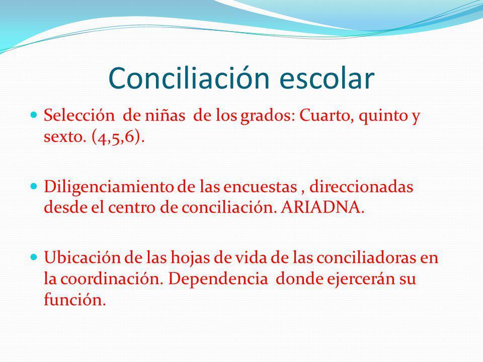 Conciliación escolar Selección de niñas de los grados: Cuarto, quinto y sexto. (4,5,6).