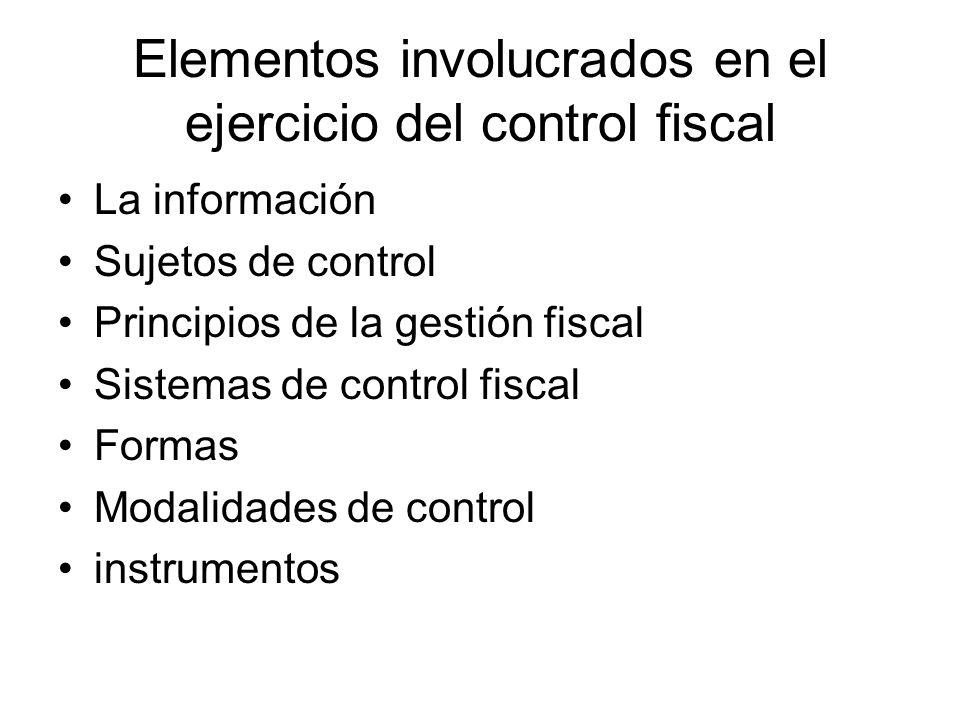 Elementos involucrados en el ejercicio del control fiscal
