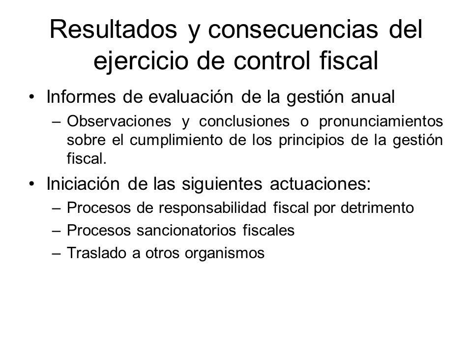Resultados y consecuencias del ejercicio de control fiscal