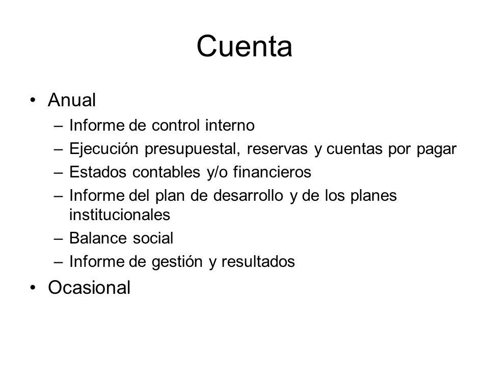 Cuenta Anual Ocasional Informe de control interno