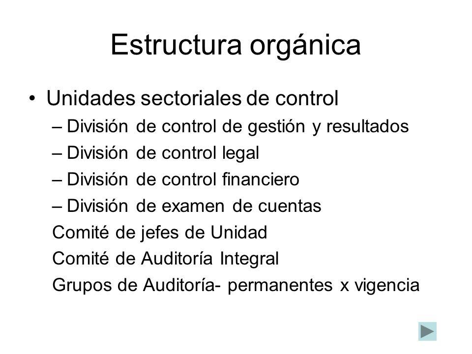 Estructura orgánica Unidades sectoriales de control