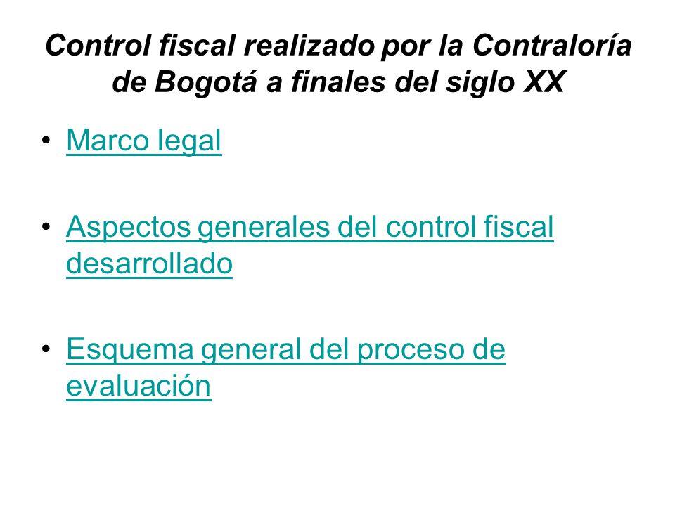 Control fiscal realizado por la Contraloría de Bogotá a finales del siglo XX