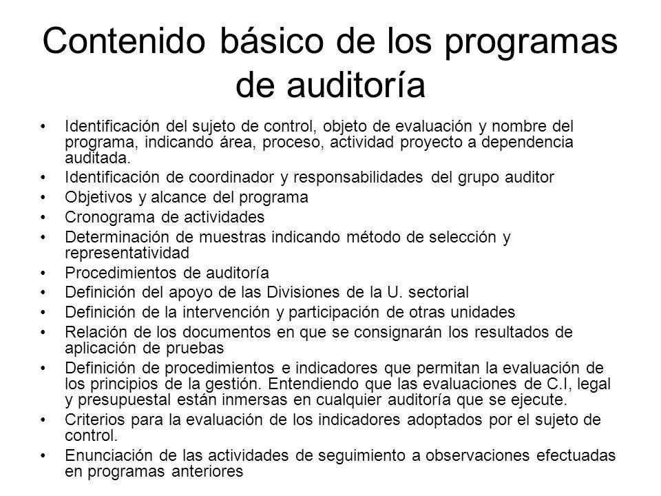 Contenido básico de los programas de auditoría