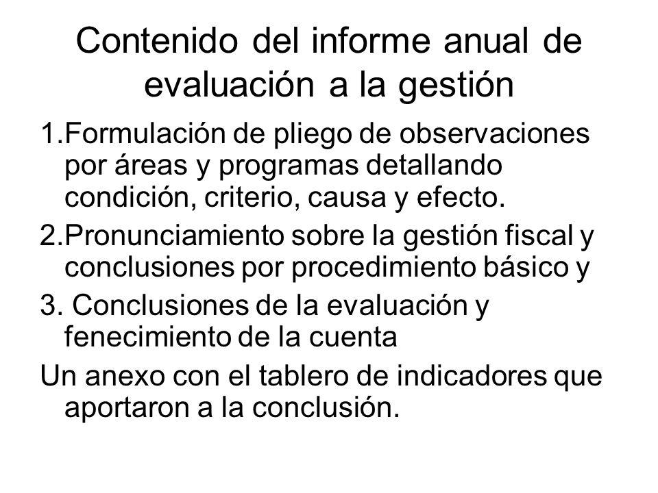 Contenido del informe anual de evaluación a la gestión