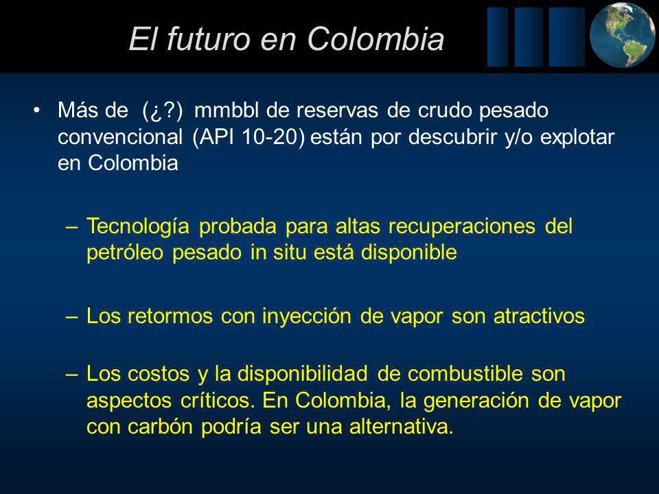 El futuro en Colombia Más de (¿ ) mmbbl de reservas de crudo pesado convencional (API 10-20) están por descubrir y/o explotar en Colombia.