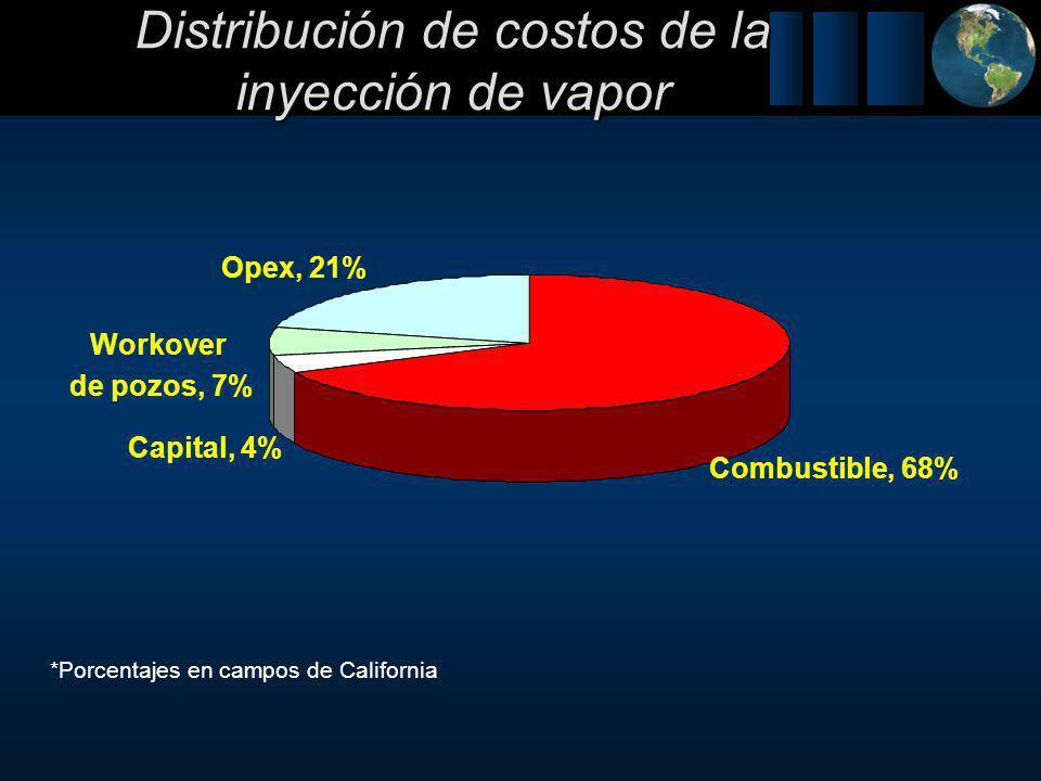 Distribución de costos de la inyección de vapor