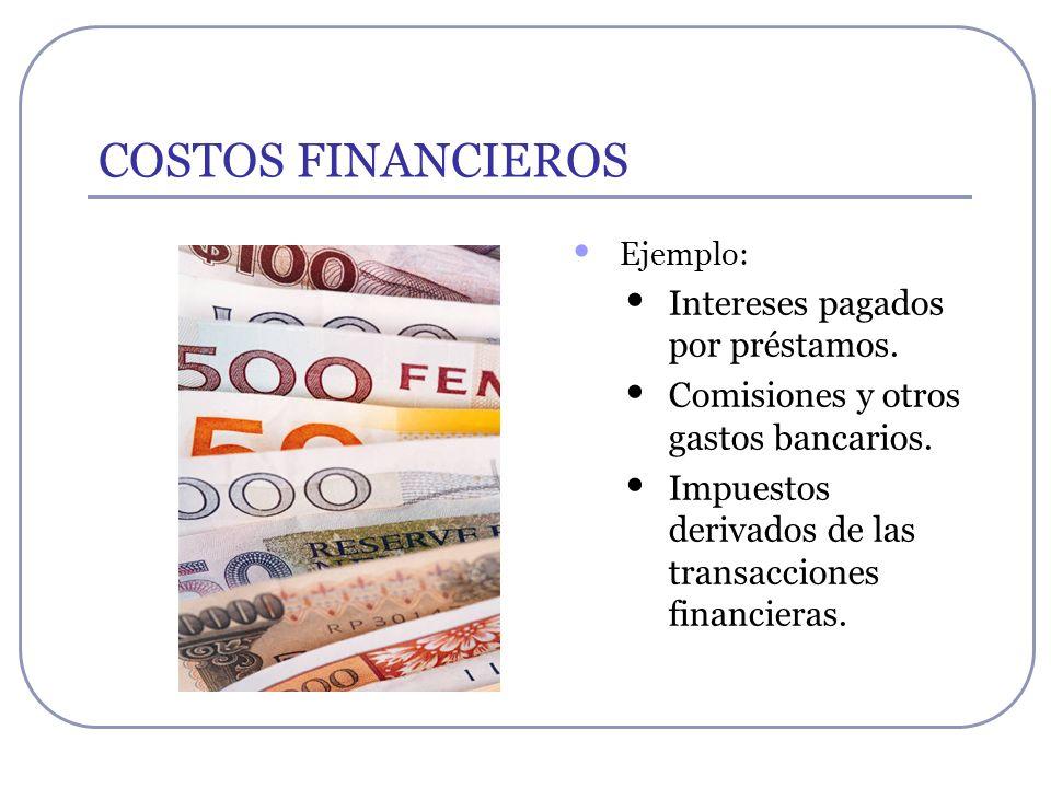 COSTOS FINANCIEROS Intereses pagados por préstamos.