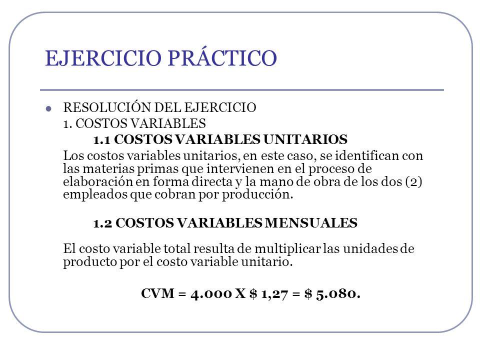 EJERCICIO PRÁCTICO RESOLUCIÓN DEL EJERCICIO 1. COSTOS VARIABLES