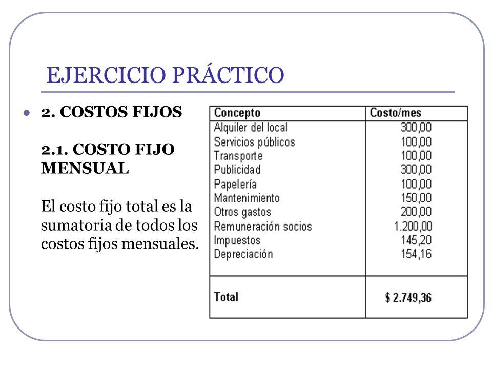 EJERCICIO PRÁCTICO2.COSTOS FIJOS 2.1.