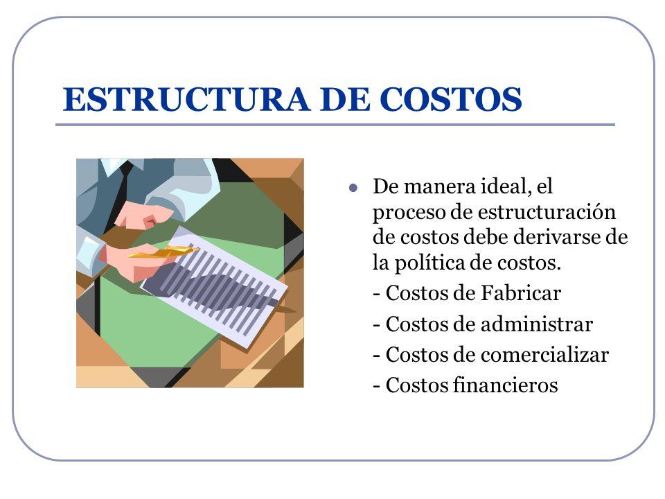 ESTRUCTURA DE COSTOS De manera ideal, el proceso de estructuración de costos debe derivarse de la política de costos.