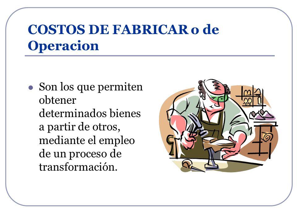 COSTOS DE FABRICAR o de Operacion