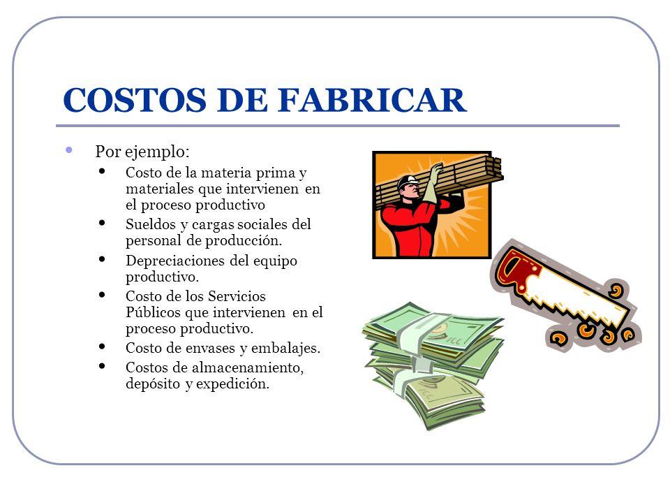 COSTOS DE FABRICAR Por ejemplo: