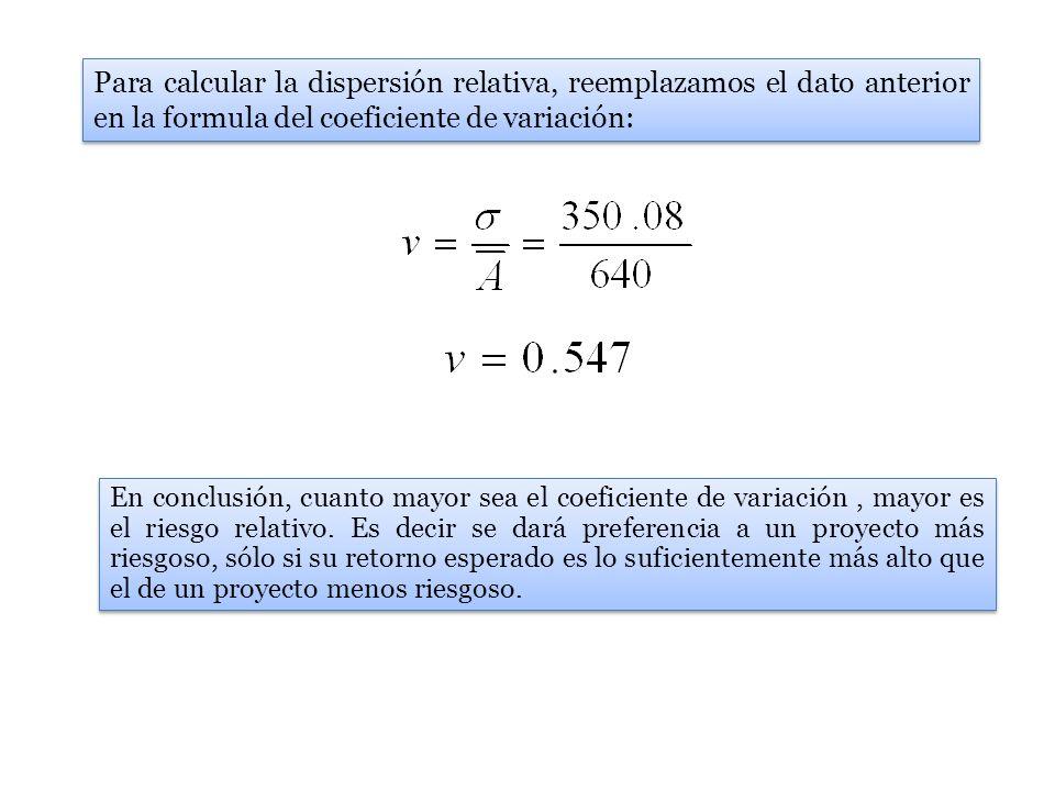Para calcular la dispersión relativa, reemplazamos el dato anterior en la formula del coeficiente de variación: