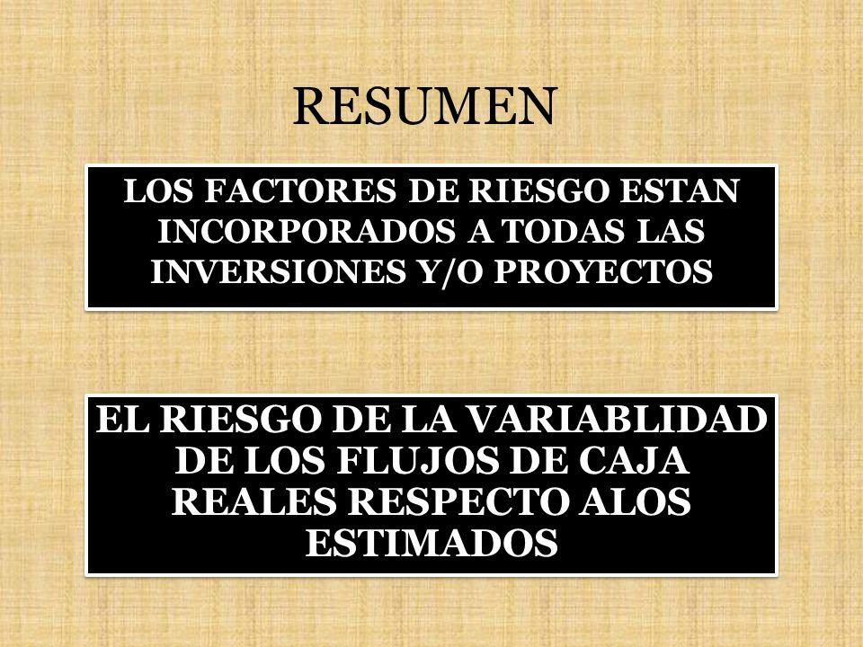 RESUMEN LOS FACTORES DE RIESGO ESTAN INCORPORADOS A TODAS LAS INVERSIONES Y/O PROYECTOS.