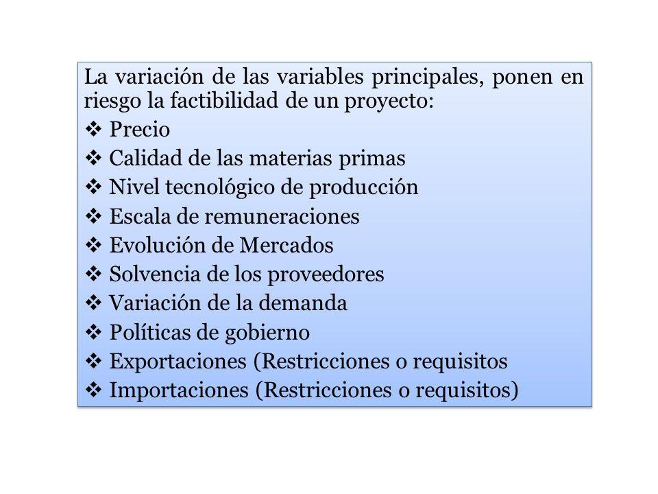 La variación de las variables principales, ponen en riesgo la factibilidad de un proyecto: