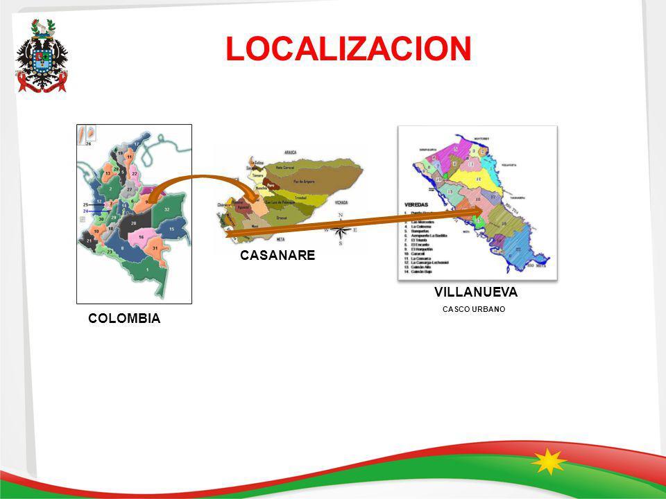 LOCALIZACION CASANARE VILLANUEVA CASCO URBANO COLOMBIA