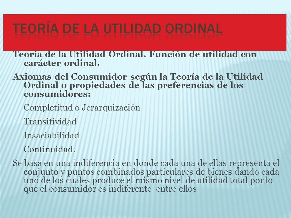 Teoría de la Utilidad Ordinal. Función de utilidad con carácter ordinal.