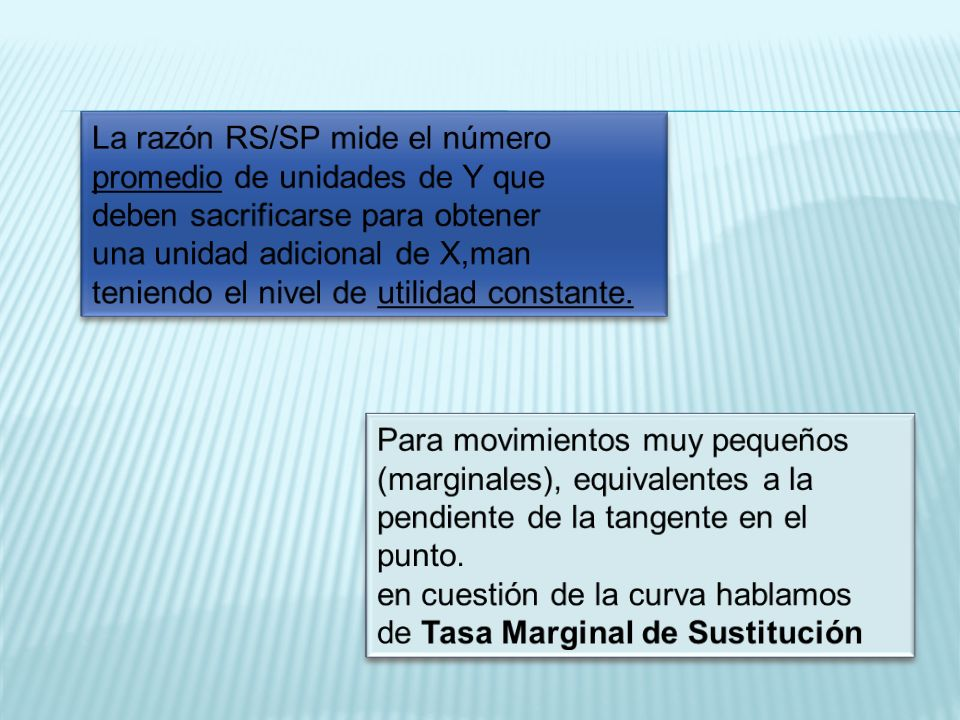 La razón RS/SP mide el número promedio de unidades de Y que