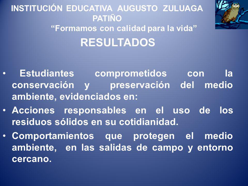 INSTITUCIÓN EDUCATIVA AUGUSTO ZULUAGA PATIÑO Formamos con calidad para la vida