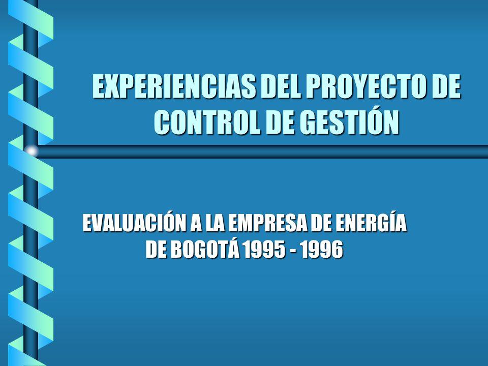 EXPERIENCIAS DEL PROYECTO DE CONTROL DE GESTIÓN