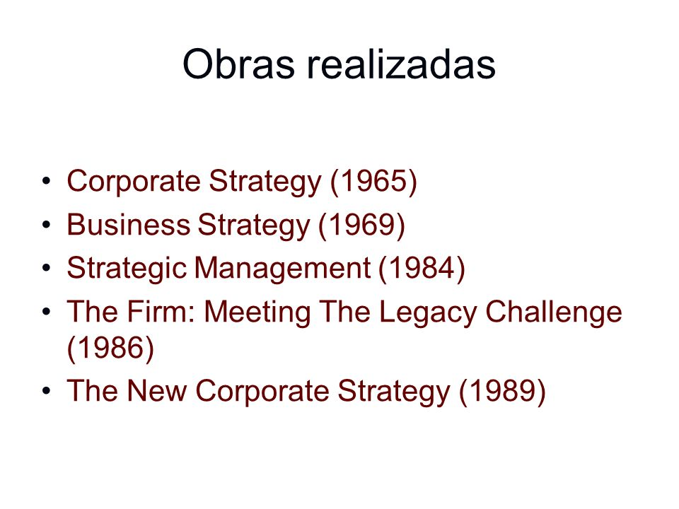 Obras realizadas Corporate Strategy (1965) Business Strategy (1969)