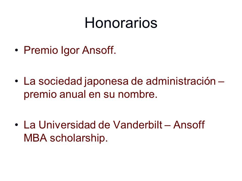 Honorarios Premio Igor Ansoff.