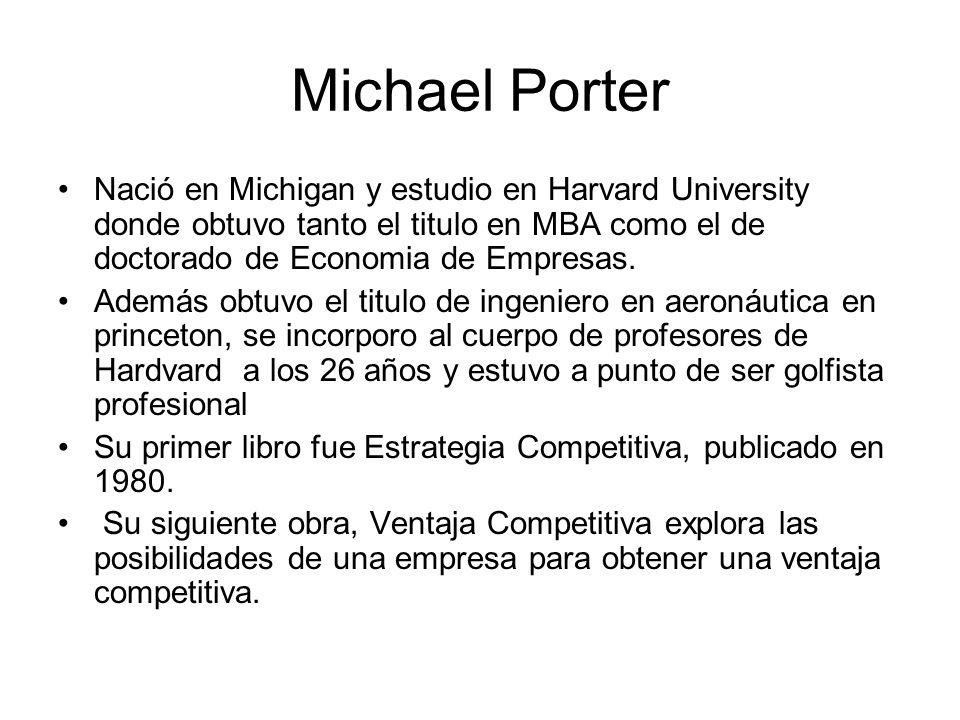 Michael Porter Nació en Michigan y estudio en Harvard University donde obtuvo tanto el titulo en MBA como el de doctorado de Economia de Empresas.
