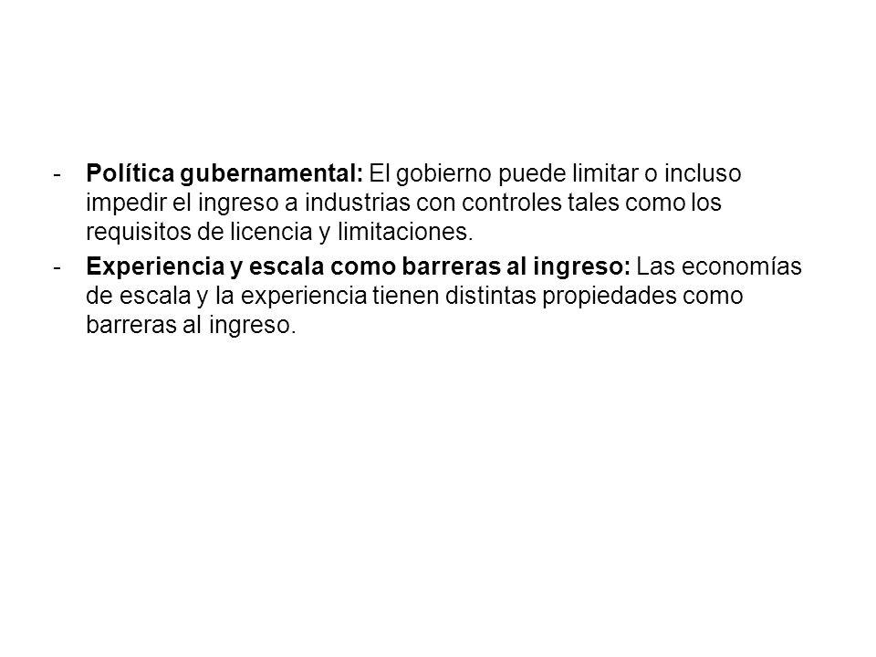 Política gubernamental: El gobierno puede limitar o incluso impedir el ingreso a industrias con controles tales como los requisitos de licencia y limitaciones.