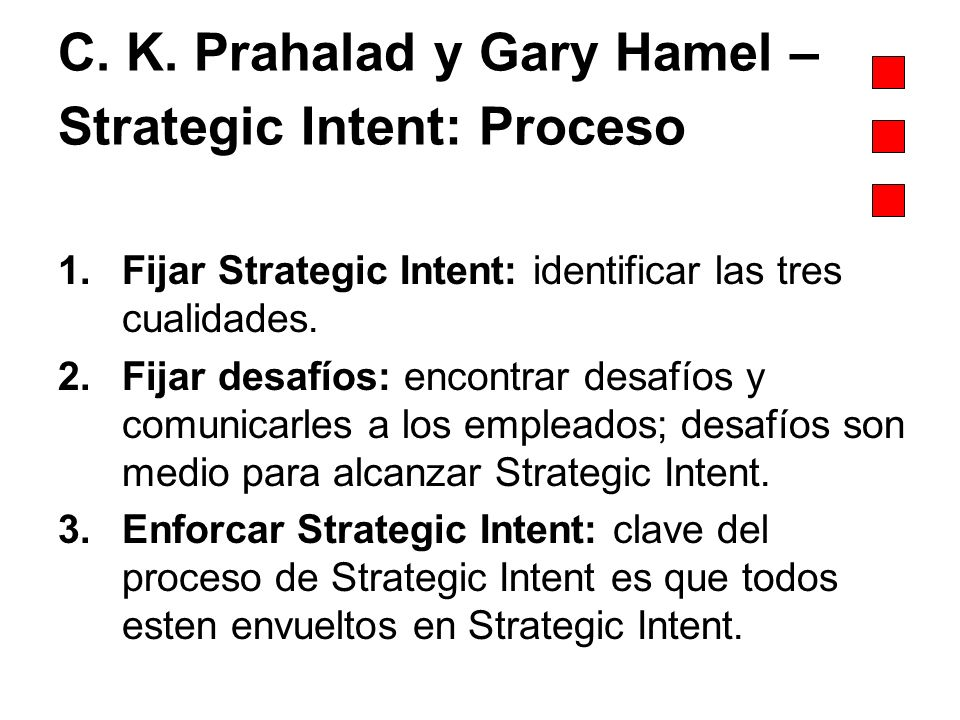 C. K. Prahalad y Gary Hamel – Strategic Intent: Proceso