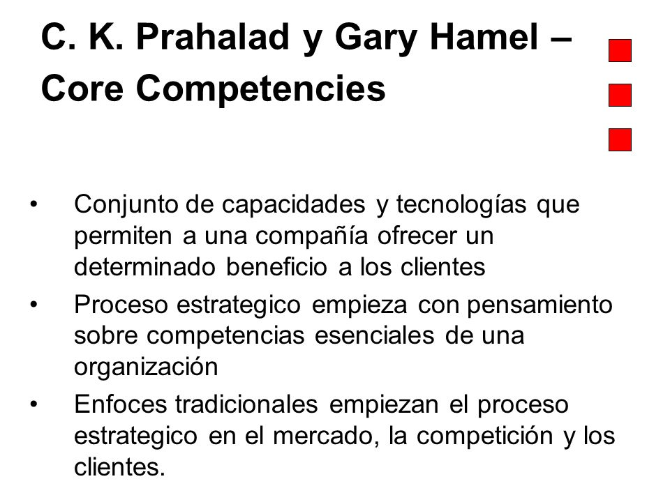 C. K. Prahalad y Gary Hamel – Core Competencies