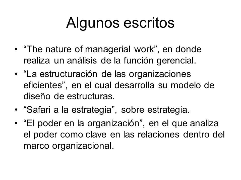 Algunos escritos The nature of managerial work , en donde realiza un análisis de la función gerencial.