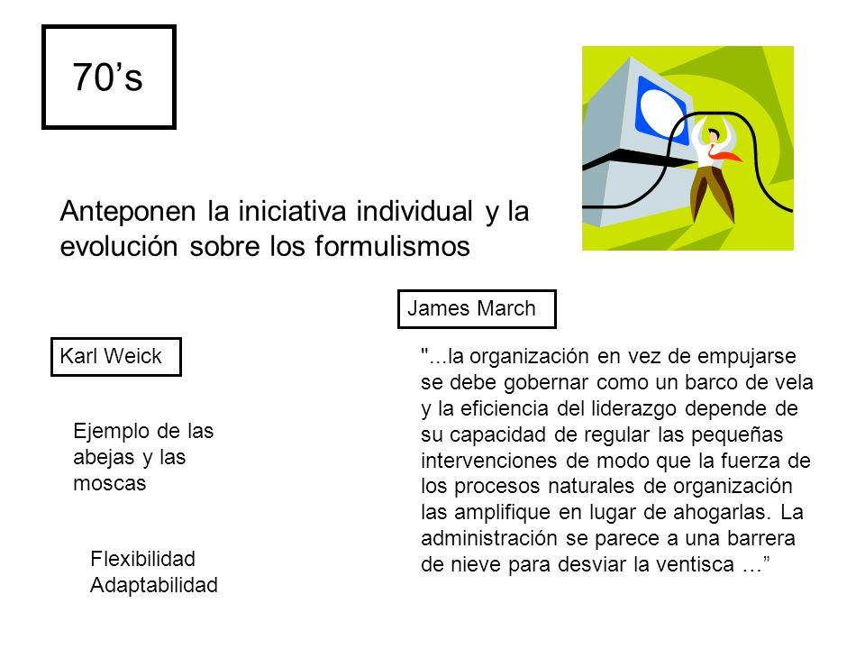 70's Anteponen la iniciativa individual y la evolución sobre los formulismos. James March. Karl Weick.