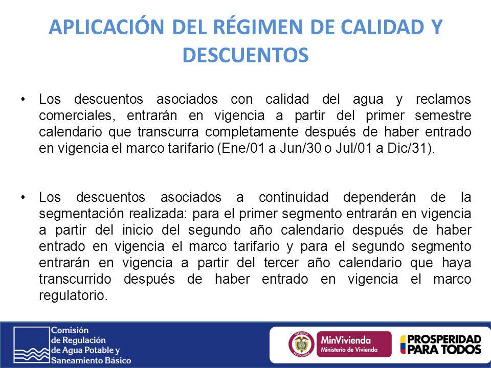APLICACIÓN DEL RÉGIMEN DE CALIDAD Y DESCUENTOS