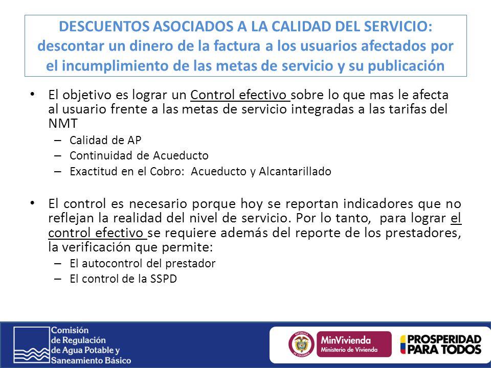 DESCUENTOS ASOCIADOS A LA CALIDAD DEL SERVICIO: descontar un dinero de la factura a los usuarios afectados por el incumplimiento de las metas de servicio y su publicación
