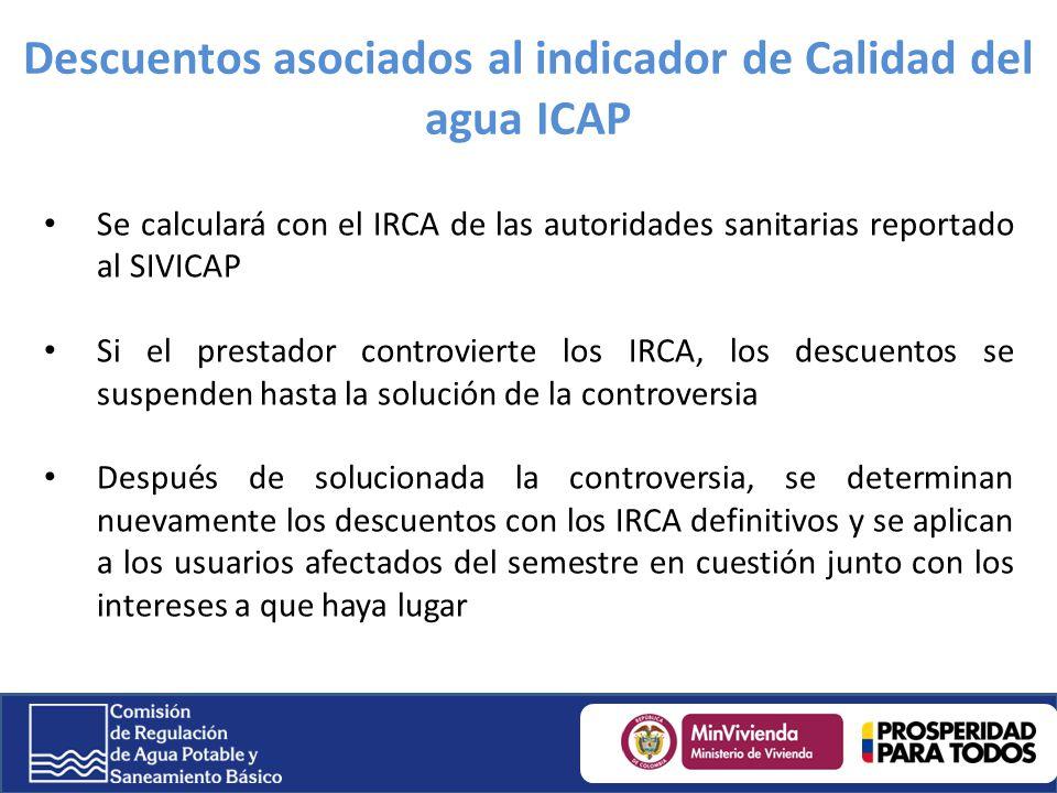 Descuentos asociados al indicador de Calidad del agua ICAP