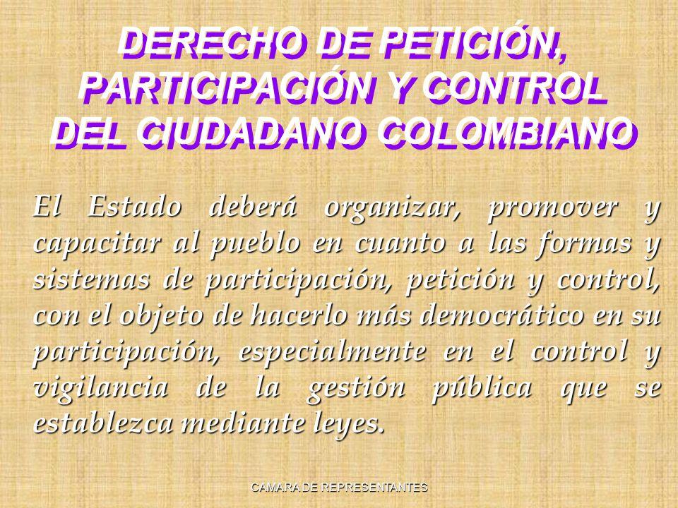 DERECHO DE PETICIÓN, PARTICIPACIÓN Y CONTROL DEL CIUDADANO COLOMBIANO