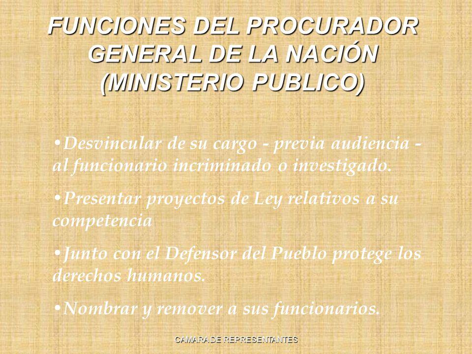 FUNCIONES DEL PROCURADOR GENERAL DE LA NACIÓN (MINISTERIO PUBLICO)