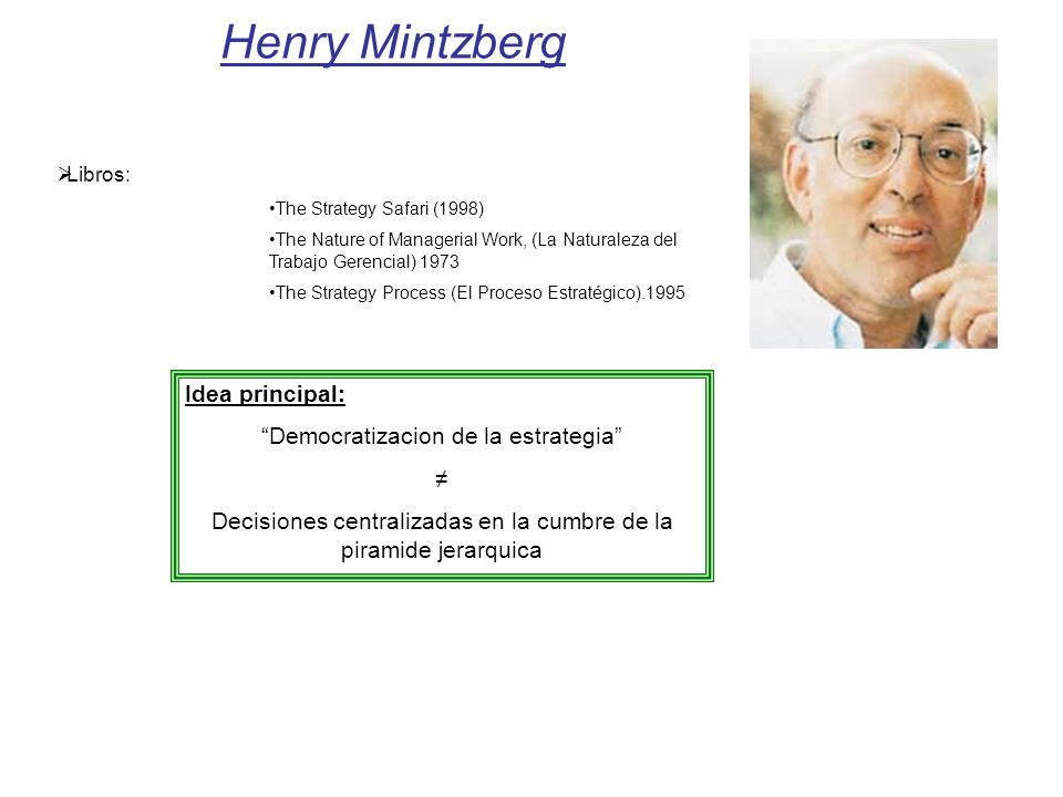 Henry Mintzberg Idea principal: Democratizacion de la estrategia ≠