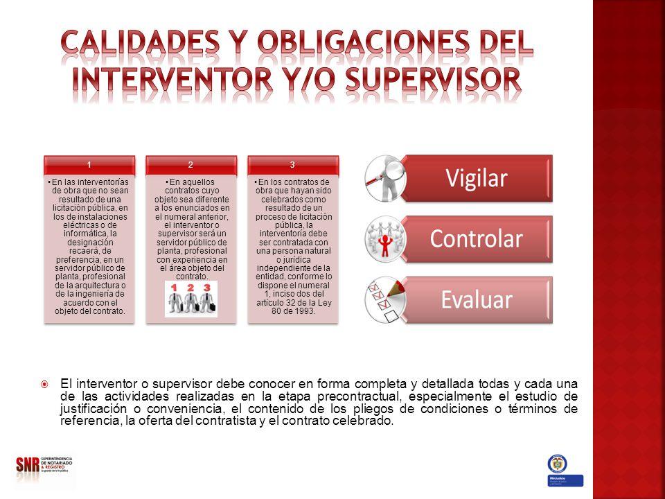 CALIDADES Y OBLIGACIONES DEL INTERVENTOR Y/O SUPERVISOR