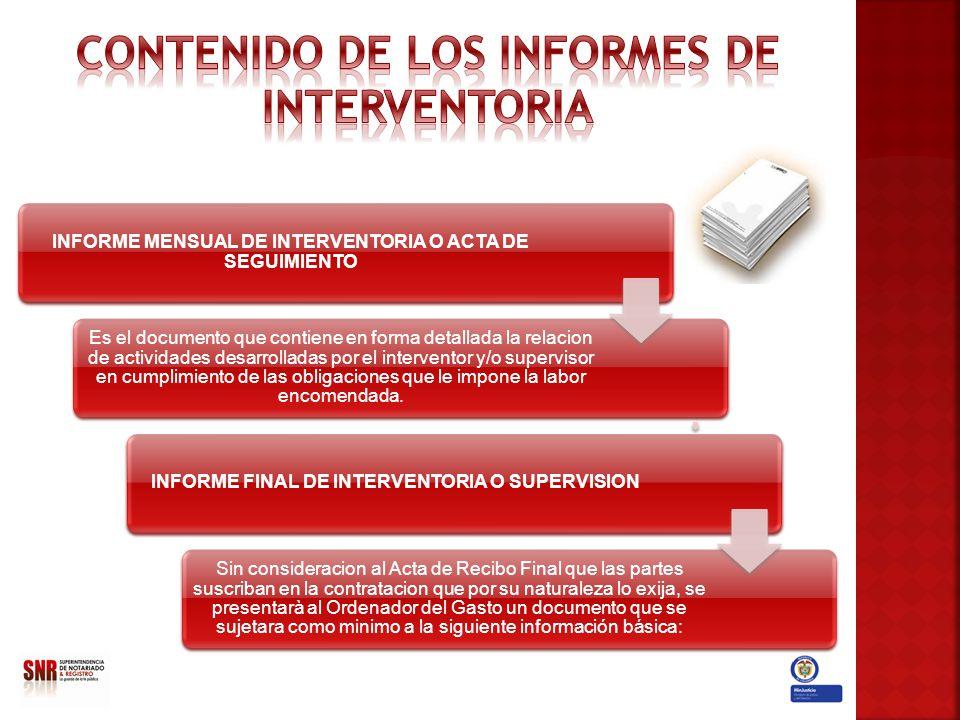 CONTENIDO DE LOS INFORMES DE INTERVENTORIA