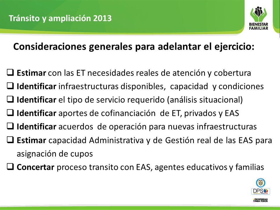 Tránsito y ampliación 2013 Consideraciones generales para adelantar el ejercicio: Estimar con las ET necesidades reales de atención y cobertura.