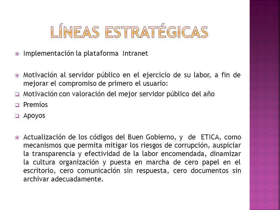 Líneas estratégicas Implementación la plataforma Intranet
