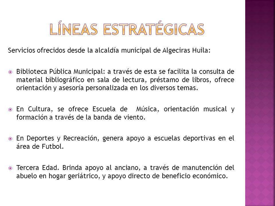 Líneas estratégicas Servicios ofrecidos desde la alcaldía municipal de Algeciras Huila:
