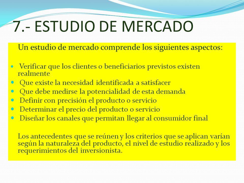 7.- ESTUDIO DE MERCADO Un estudio de mercado comprende los siguientes aspectos: